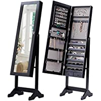 Giantex Mirrored Jewelry Cabinet Free-Standing Lockable Armoire Storage Organizer Box with 2 Drawers Christmas Gift, Black
