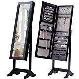 Giantex Mirrored Jewelry Cabinet Free-Standing Lockable Armoire Storage Organizer Box with 2 Drawers, Black