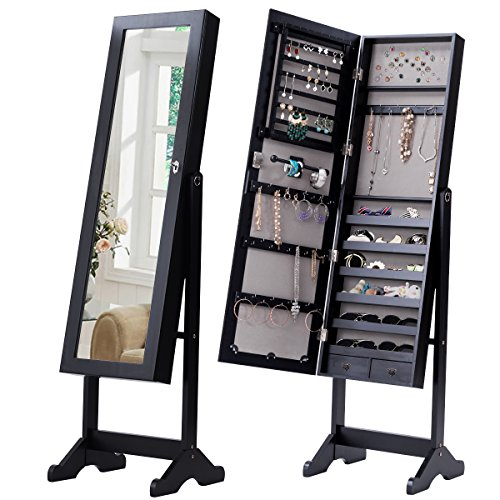 Giantex Mirrored Jewelry Cabinet Free-Standing Lockable Armoire Storage Organizer Box with 2 Drawers, Black by Giantex