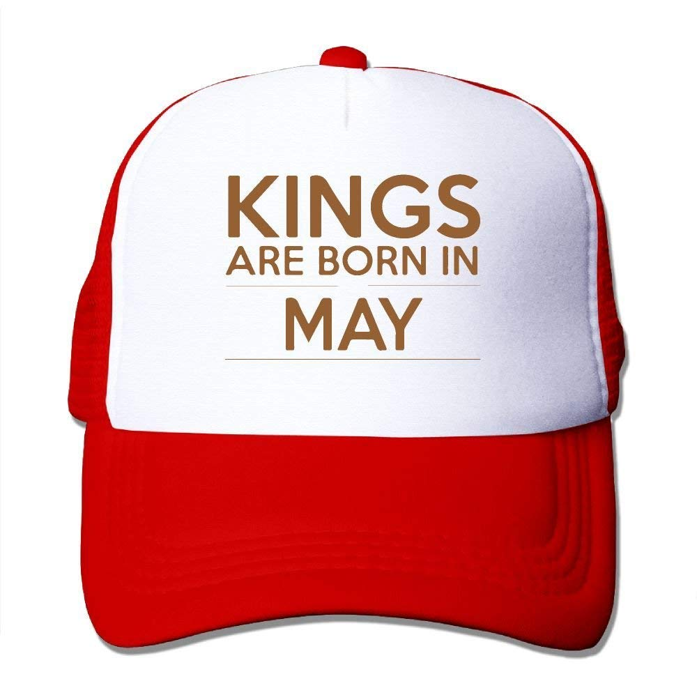 4a761efab75 Amazon.com  Kings are Born in May Mesh Trucker Caps Hats Adjustable for  Unisex Black  Clothing