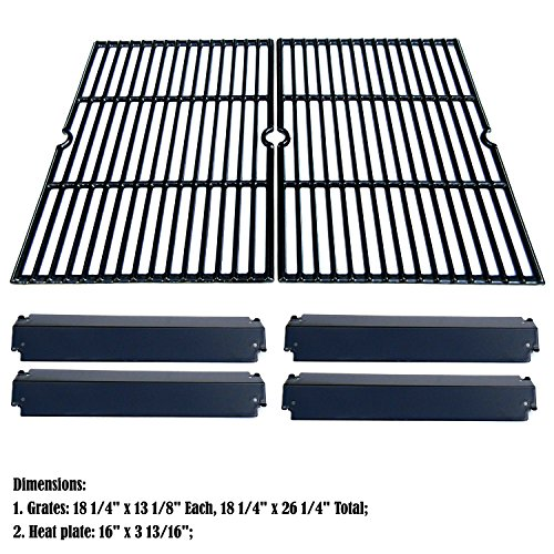 Heat Plate Porcelain Steel Coated (bbq factory® Replacement Charbroil Gas Grill Rebuild Kit and Porcelain Coated Cast Iron Cooking Grill Grates and Porcelain Steel Heat Plates)