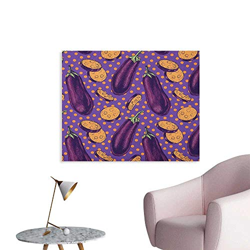 Anzhutwelve Eggplant Wall Sticker Decals Realistic Looking Eggplants with Eighties Inspired and Dotted Purple Background Poster Print Purple Orange W48 xL32]()