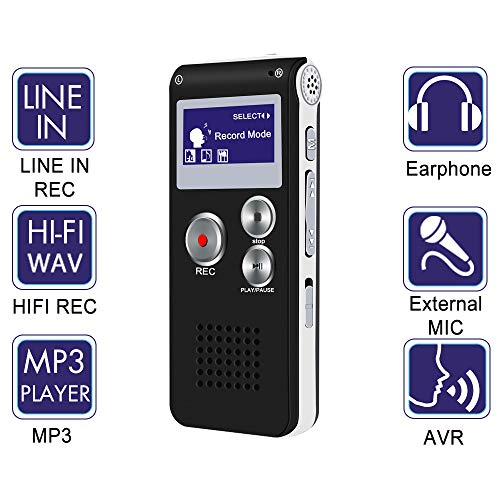 Digital Voice Activated Recorder - Akaluli 8GB Tape Voice Recorder Pocket Recorder for Lectures Meetings Rechargeable Portable Recording Device with Built-in Speaker ... (Black 8GB)