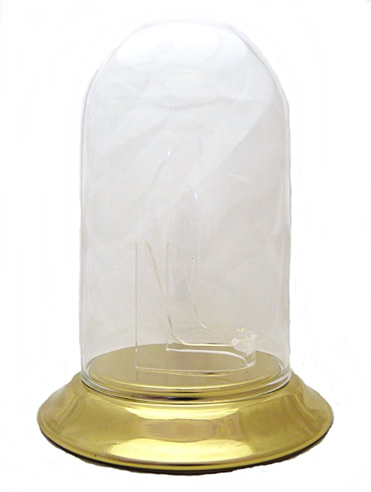 Standard 3''x5'' Pocket Watch Glass Display Dome Gold Plated Base & Clear Stand