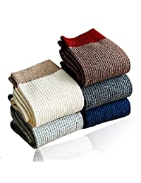100% Cotton Crew Socks for Men,Mens Cotton Knitted Plain Socks for Work and Casual(Pack of 5)