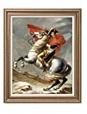 DecorArts - Napoleon Crossing The Alps, Jacques Louis David Classic Art. Giclee Prints Framed Art for Wall Decor. Framed size: 29x35''