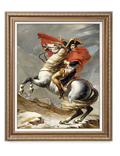 DecorArts - Napoleon Crossing The Alps, Jacques Louis David Classic Art. Giclee Prints Framed Art for Wall Decor. Framed size: 29x35'' by DECORARTS