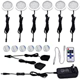 Aiboo 12V LED Under Cabinet Lights Kit 6 Pack Black Cord Aluminum Puck Lamps for Kitchen Counter Closet Lighting with Wireless Dimmable RF Remote Control(6 Lights, Warm white)