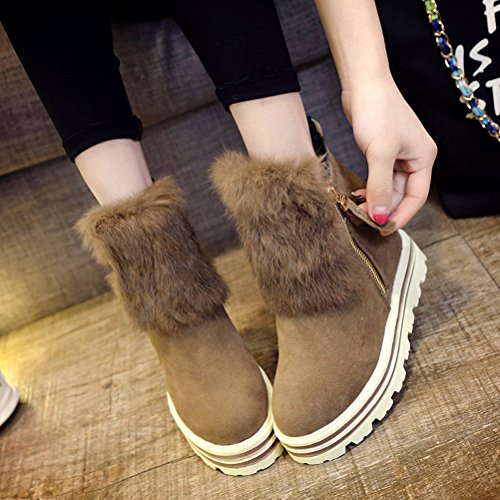 Faux Wedges Side Ankle Boots Womens Platform Fashion amp;Mates Hidden Fur T Zipper Snow Red High Suede tvXw46q