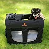 Dog Crate Soft Pet Carrier Travel Bag Collapsible 3-Door Kennel for Cats Indoor Camping-24 Inches Black