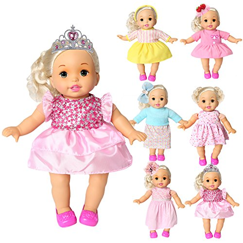 rainbow yuango Pack of 6 Bitty Baby Alive Doll Clothes Colorful Handmade Dresses Skirts Outfits Realistic Daily Costumes Gown Set Fits 12'' 13'' 14'' 15'' Baby Alive (13' Cloth Doll)