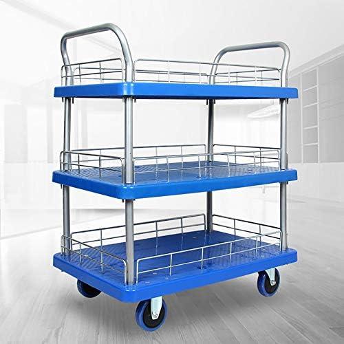 ツールカート 頑丈なフラットベッドダブル層トロリーカート楽器カート多層トロリーツールカート3層フラットカート 収納ケース (Color : Blue, Size : 90x60x110cm)