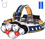 Rechargeable LED Headlamp, 18000 Lumen Headlight with 8 Modes, Headlamp Flashlight with IPX4 Waterproof and Re