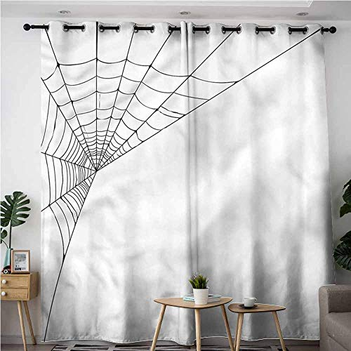 AndyTours Sliding Door Curtains,Modern Spider Web Icon Halloween,Room Darkening, Noise Reducing,W72x84L]()