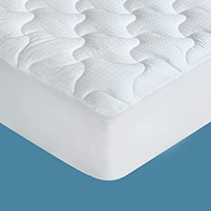 THLAND Queen Mattress Pad Cover Cooling Pillow Top Quilted Mattress Topper 300TC 100% Cotton with 8-21 Inch Deep Pocket