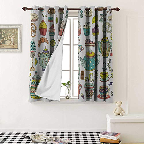 (shenglv Tea Party Waterproof Window Curtain Coffee and Dessert Cupcake Bagel Doughnut Baked Good and Sweets Cinnamon Teapot Curtains Living Room W55 x L45 Inch Multicolor)