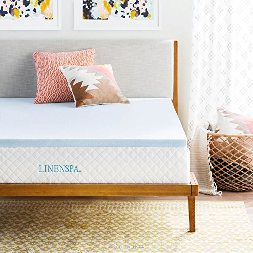 LINENSPA  2 Inch Gel Infused Memory Foam Mattress Topper, Queen