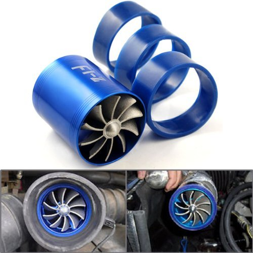 Amazon.com: LOOYUAN F1-Z Double Turbine Turbo Charger Air Intake Gas Fuel Saver Fan + 3 Rubber Holder For Car: Automotive