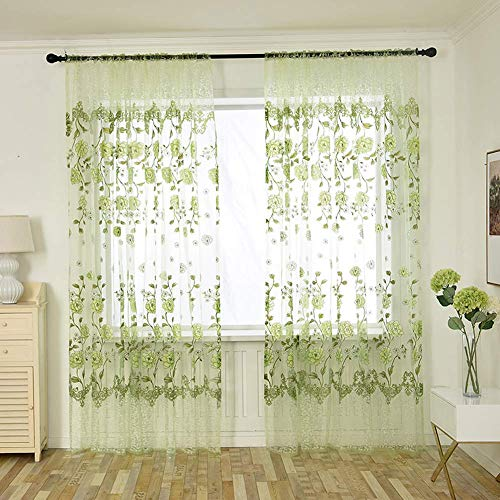 Aside Bside Natural Rod Pocket Sheer Window Curtains Panels Colorful Flower Printed Tulle Draperies for Living Room(1 Panel, W 50 x L 72 inch, Green) (Cortina De Ba??o)