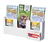 Marketing Holders Three Pocket White Acrylic Wall-Mount Brochure Holder for 4'' w Literature with Attached Card Holder Multi Pocket Tri Fold Stand