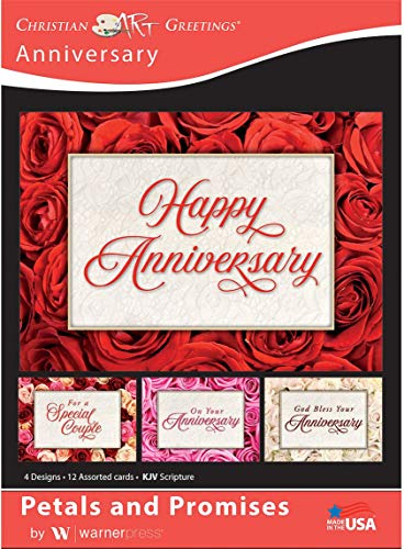 Petals and Promises - Anniversary Greeting Cards - KJV Scripture - (Box of 12)