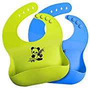 Bonim Baby Bibs Waterproof Silicone Bib Comfortable and Adjustable Soft Feeding Bibs for Infants and Toddlers (672Months) Easy to Clean, Dry, Portable and Keep Stains Off (Green and Blue) 2Pack