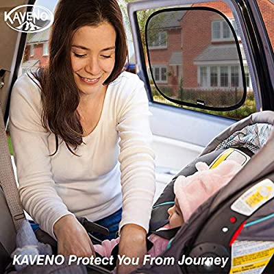 kaveno Car Window Shade Cling Auto Sun Shield 80 GSM Protective Mesh for Blocking UV Ray Adhesive Side with Good Sticking Cooling Protects Your Kids Pets Family Baby (Semi-Transparent & Transparent): Automotive