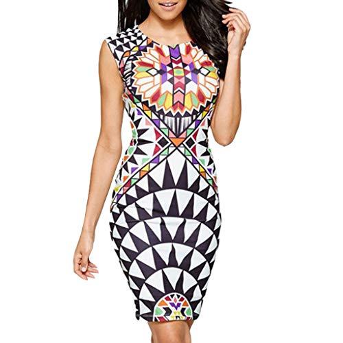 - Mayunn Womens Summer Sleeveless Floral Print National Style Bodycon Famous Mini Dress Beach Sundress
