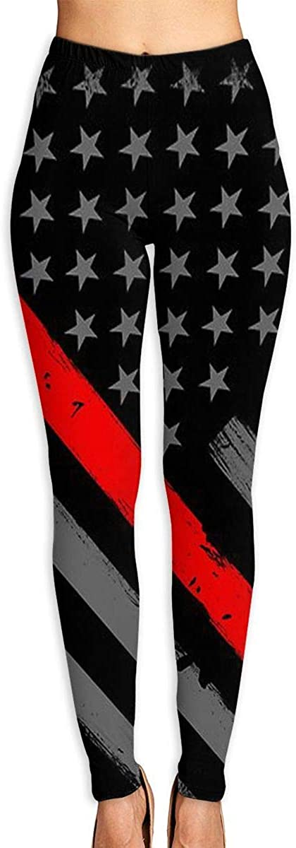 Woman Firefighter Thin Red Line American Flag Printed Leggings Yoga Workout Leggings Pants