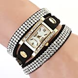 BESSKY Women's White Dial Clock Leather Quartz Wrist Watch
