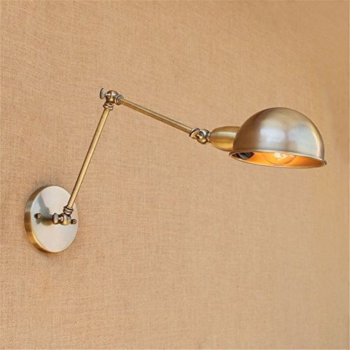 Twin Arm Sconce - Vintage Retro Countryside Golden Wall Lamp Long Arm Pole Swing Arm Wall Mount Light Sconces (bulbs not included)