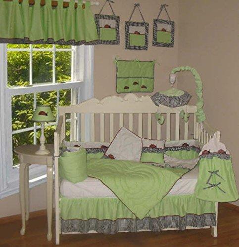 Evy Lynn Creations Ladybug 9 Piece Nursery Bedding Set Bumper Quilt Sheet Dust Ruffle Diaper Stacker Toy Bag Pillow Window ()