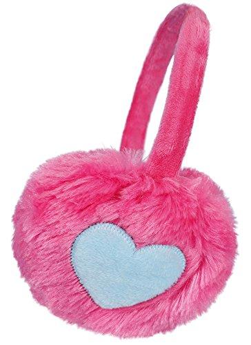 Kids Girls Winter Warm Faux Fur Plush Heart Printed Ear Warmers Earmuffs Pink (Warm Ear Muffs Plush)