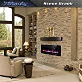 "Xbeauty 42"" Electric Fireplace in-Wall Recessed and Wall Mounted 1500W Fireplace Heater and Linear Fireplace with Timer/Multicolor Flames/Touch Screen/Remote Control"