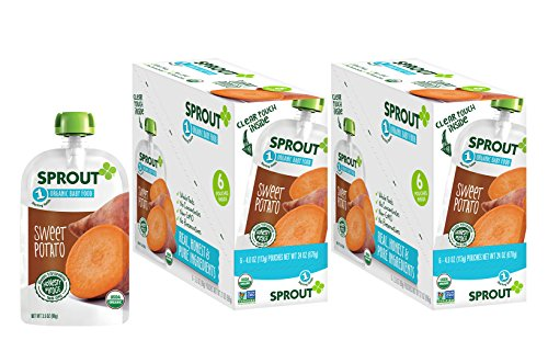 Sprout Organic Baby Food Pouches Stage 1 Sprout Baby Food, Sweet Potato, 3.5 Ounce (Pack of 12); USDA Organic, Non-GMO, Made with Whole Vegetables, No Sugar Added, No Preservatives, Nothing (Organic Sweet Potato)