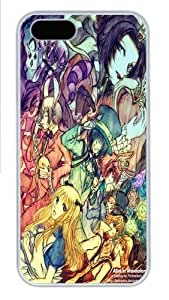 iPhone 5S Case, iPhone 5S Cases -Alice Wonderland Art 2 Polycarbonate Hard Case Back Cover for iPhone 5/5S White