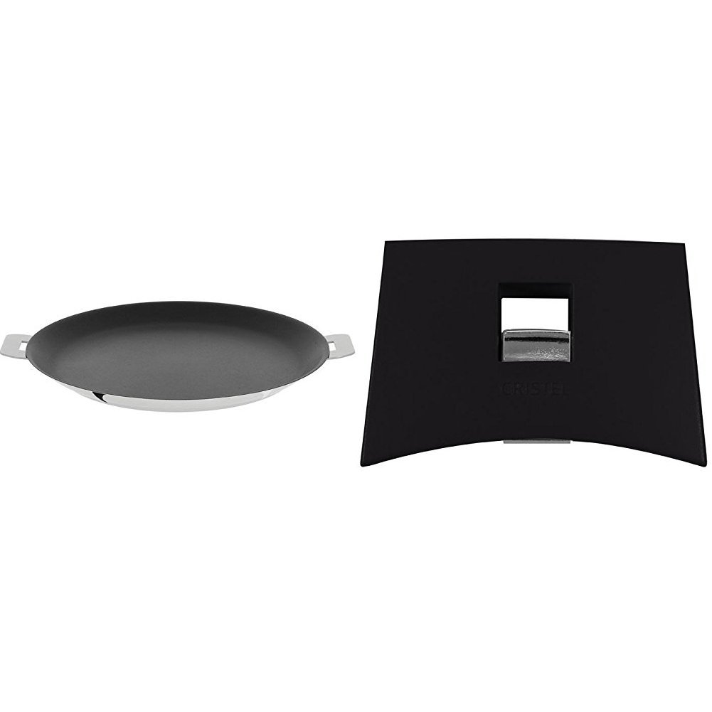 Cristel CR30QE Non-Stick Crepe Pan, Silver, 12'' with Cristel Mutine Spplman Set of Handles, Black