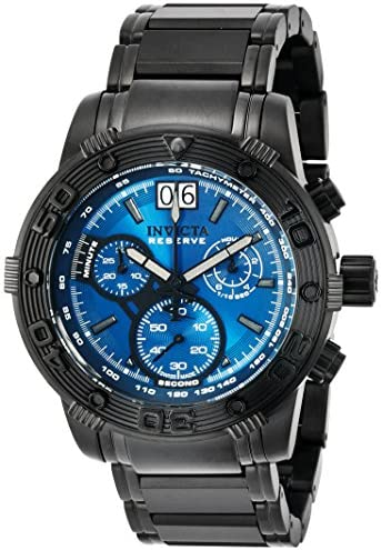 Invicta Men s 10594 Ocean Reef Reserve Chronograph Blue Dial Black Watch