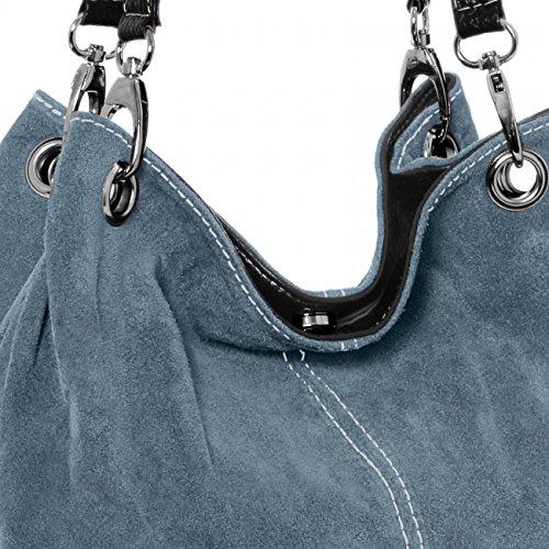 Borsa CASPAR Blu a Spalla TL621 Pelle Scamosciata jeans in Donna UFqEHPwv