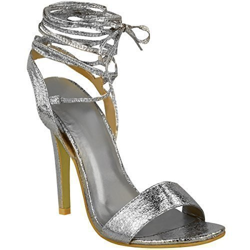 Heels Size Silver Womens Ladies High Sandals Up Crinkle Lace There Barely New Shoes Tie Strappy WnnCZt