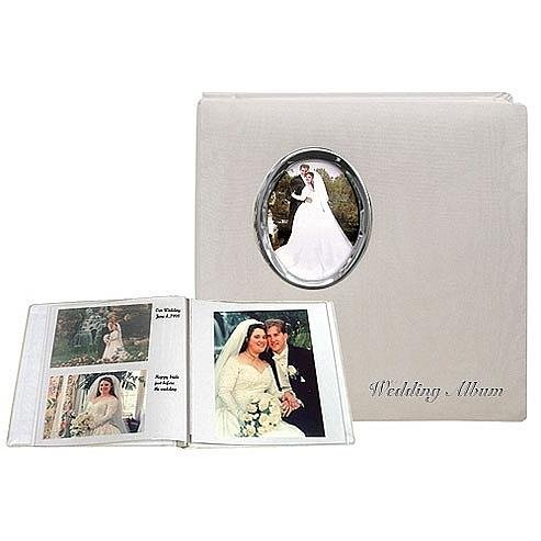 Silver Wedding Album Post-Bound pocket album for 5x7 8x10 prints w/scrapbook pages by Pioneer - 5x7
