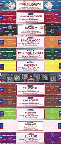 Nag Champa Sunrise Sandalwood Midnight Patchouli Celestial Fortune Blessings Romance Super Hit Jasmine Blossom Rain forest by Satya Gift Set ()
