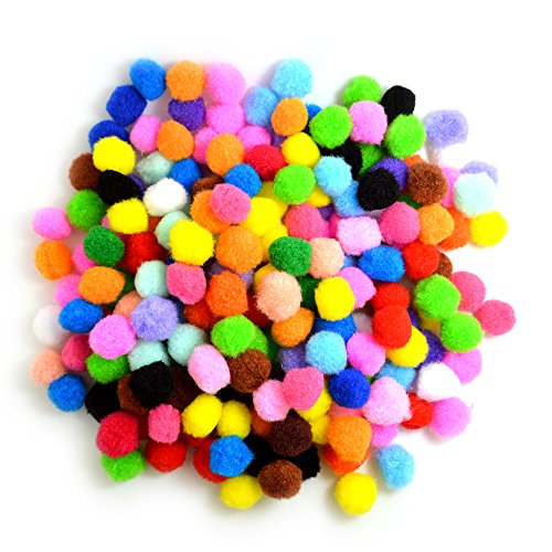 BoNaYuanDa Pompoms for Craft Making and Hobby Supplies 1 Inch, 200 Pieces, Assorted Colors -