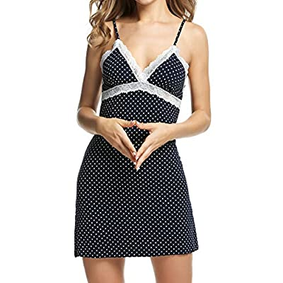 Ekouaer Sleepwear Womens Chemise Nightgown Full Slip Lace Lounge Dress at Women's Clothing store