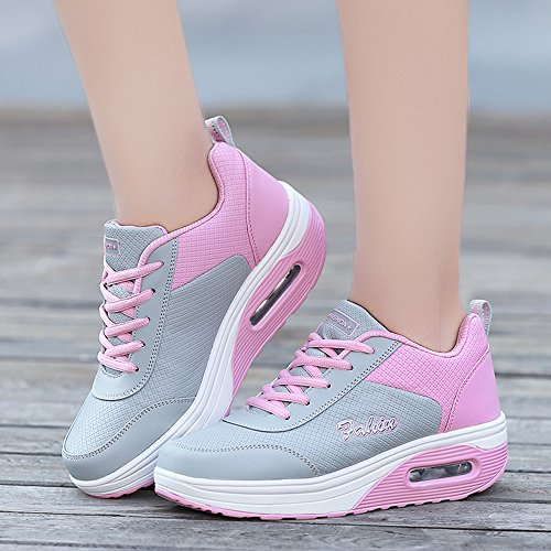 Fitness Walking B B959huifen37 Pink 6 Up Running Lace GD Comfort Shoes M Women US Platform EnllerviiD Sneakers FYwqzS