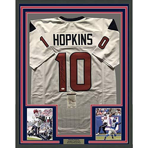 Framed Autographed/Signed DeAndre Hopkins 33x42 Houston Texans White Football Jersey JSA COA