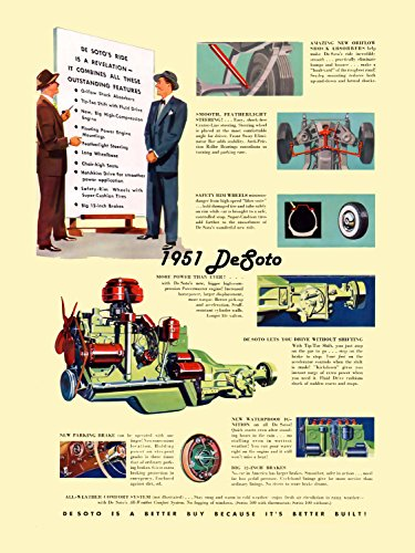 DeSoto Engine and Specifications (1951) Illustrated Car Brochure Print on 10 Mil Archival Satin Paper Multi Color Front Side Static View 18