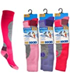 3 Pack Childrens/Girls High Performance Ski Socks With Extra Cushioning, Shin Protection, Assorted Colours, UK: 9-12, EUR: 27-30