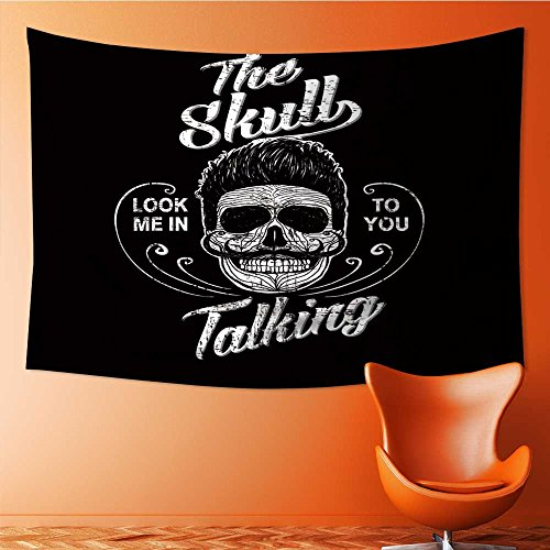 SOCOMIMI Tapestry Wall Hanging Decor skull illustration a mark of the danger warning t shirt graphics Home Hippie Bohemian Tapestry for Dorms(90.5W x 59L INCH)