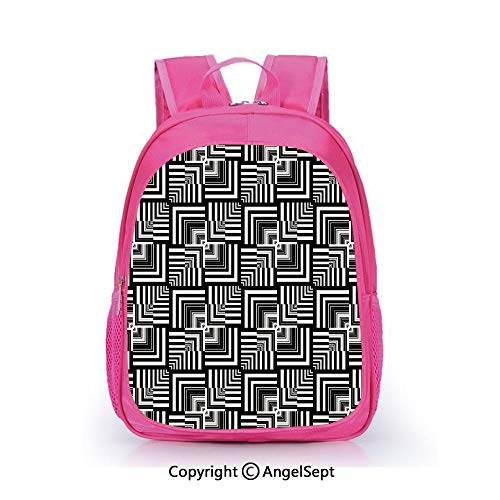 Casual Backpack Waterproof For Kindergarten Students,Geometric Op Art Pattern Unusual Checked Optical Illusion Effect Modern Decorative Black White,15.7inch,Backpack For Kids Water Resistance